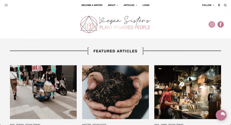 vegan sisters web design example